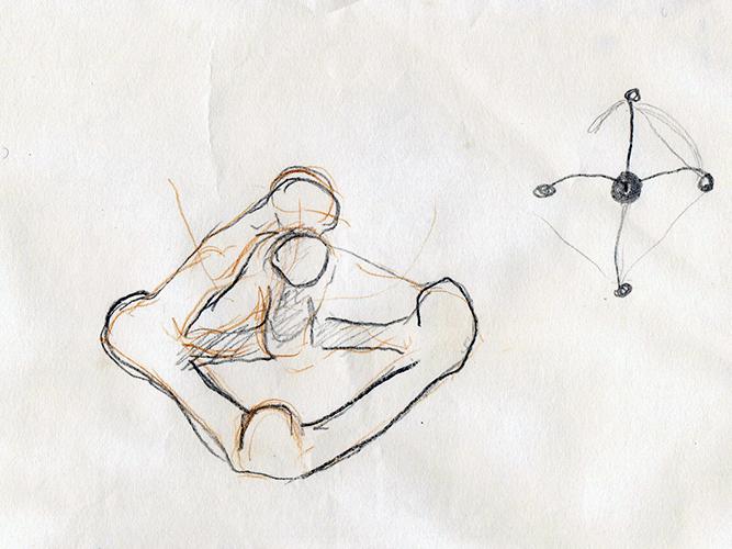 Dibujo realizado a partir de la percepción del espacio palpado con la mano.